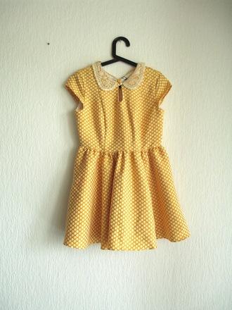 dress collar yellow primark collared dress retro polka dots