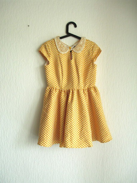 dress collar yellow primark collared dress retro polka dots