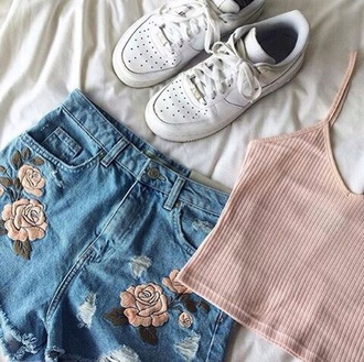 shorts kawaii denim grunge soft grunge aesthetic tumblr roses pink white black blue green grey nike adidas cute baby girl angel babydoll kawaii grunge light pink shirt crop tops pastel pink shoes adidas shoes white shoes floral embroidered shorts