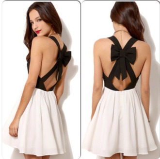 dress short party dresses short prom dress short dress open back open back dresses black black dress black and white dress white dress sexy party dresses sexy dress party dress cute dress bows bow back bow back dress