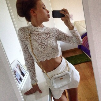shirt lace top top crop tops crop lace crop top white crop tops white top