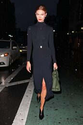 skirt,all black everything,midi skirt,turtleneck,slit skirt,model off-duty,karlie kloss