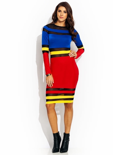 Striptease-Colorblock-Midi-Dress BLUERED - GoJane.com