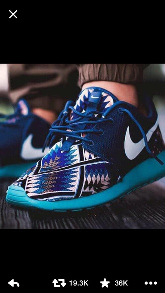 shoes nike shoes royal blue and navy aztec shoes nike running shoes nike shoes womens roshe runs