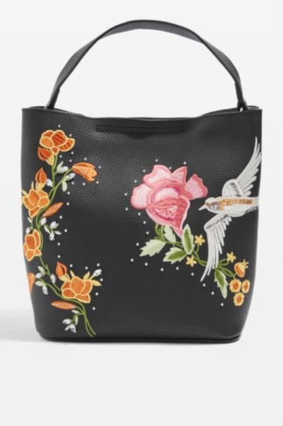 Topshop embroidered bag black