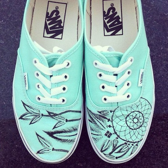 dreamcatcher vans of the wall vans mint green shoes shoes