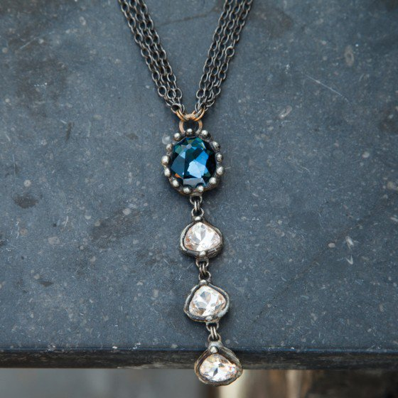 Blue and clear crystal drop necklace