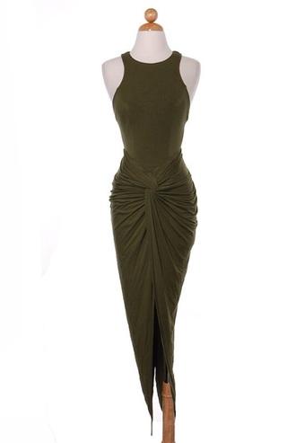 dress olivia palermo olive high low dress fashion