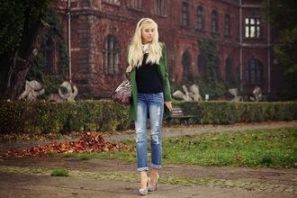 meri wild coat blouse jeans bag jewels shoes