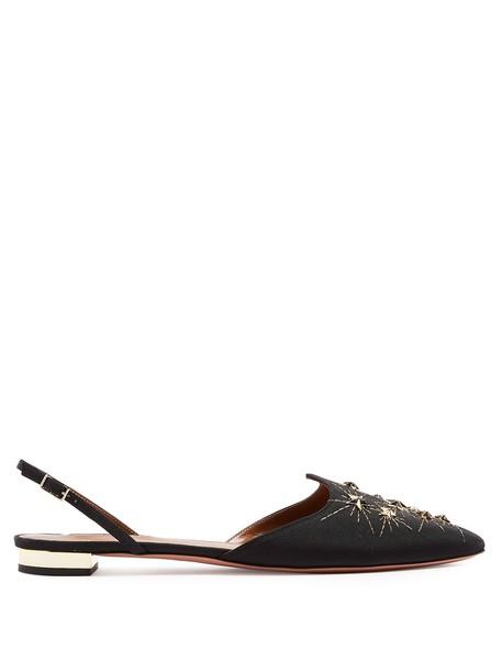 Aquazzura flats gold black shoes