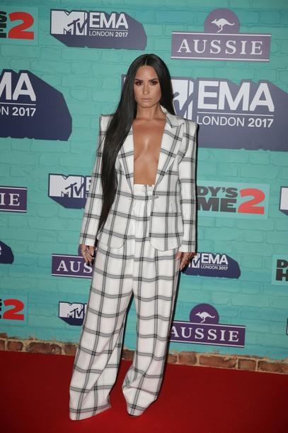pants plaid blazer suit demi lovato mtv ema awards
