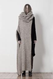 scarf,grey knitted sweater,skarf,sweater,oversized,cardigan