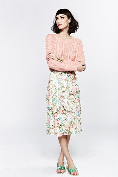 Skirt: floral skirt, floral, knee length skirt, flowy skirt ...