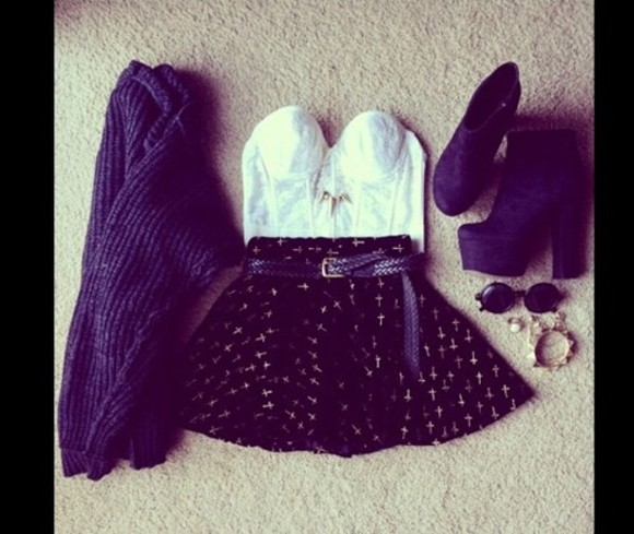 shoes high heels sweater scarf skirt white crop top black skirt corset top sweet heart cross sunglasses blue scarf knitted scarfs belt shirt