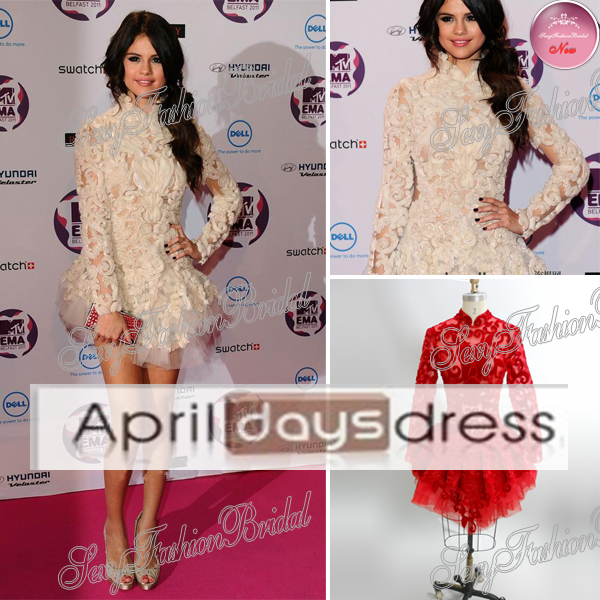 Custom Made LMmr 10 2014 Hot Selena Gomez Dress High Collar Top See through Open Back Mini Prom Short-in Celebrity-Inspired Dresses from Apparel & Accessories on Aliexpress.com