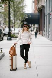 bows&sequins,blogger,sweater,jeans,shoes,hat,bag,sneakers,striped top,black pants