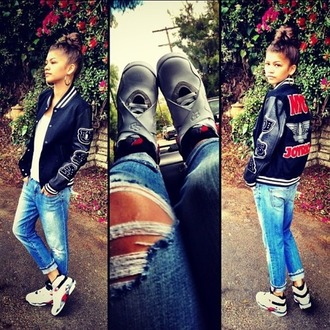 jacket zendaya jeans] high top converse shoes
