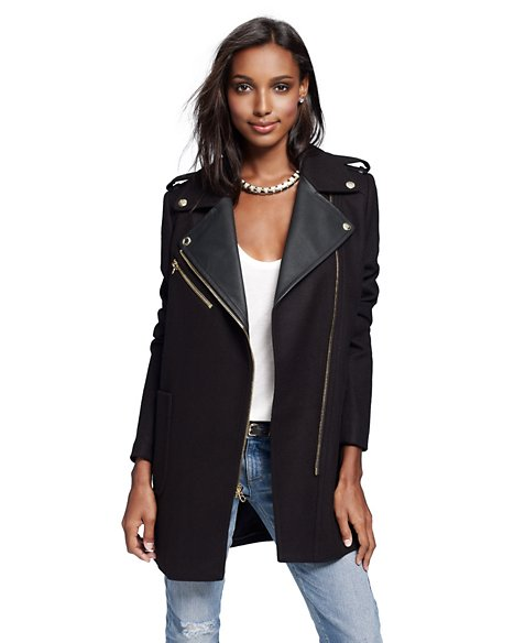 Wool Oversized Moto Coat - Jackets & Outerwear - Juicy Couture