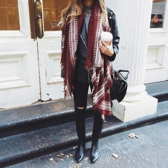 scarf burgundy red fall outfits tumblr tumblr girl fashion