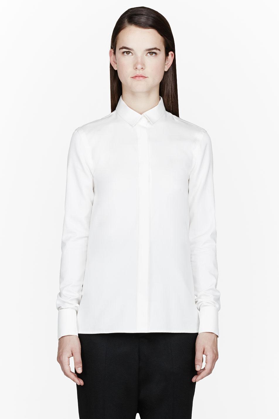 Thamanyah ivory white french cuff dress shirt for White french cuff shirt