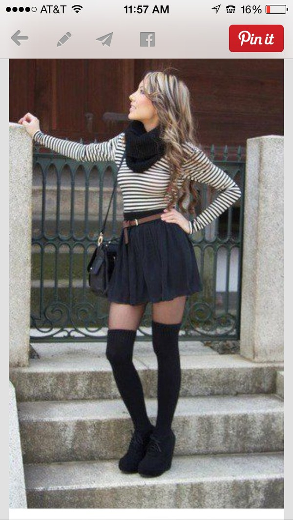 blouse stripes crip top socks belt bag skirt shoes black and white long sleeves shirt skater skirt knee top stripes scarf high knee tights black tights outfit striped shirt black skirt