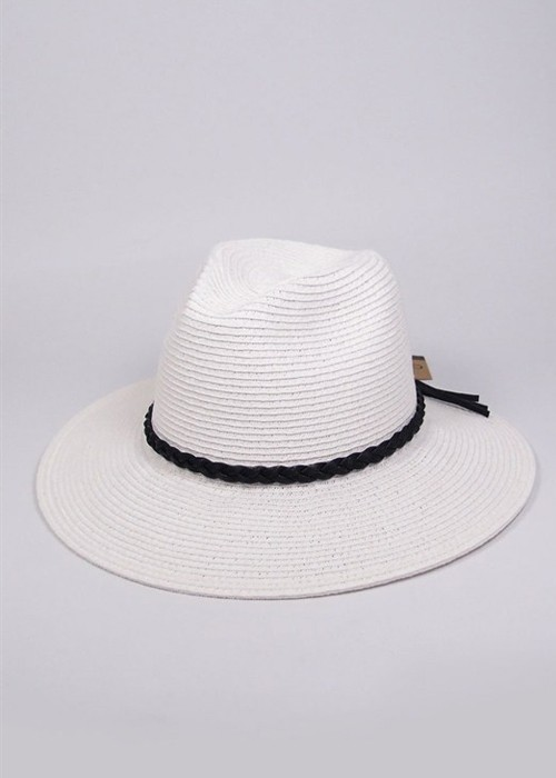 White Wide Brim Panama Hat