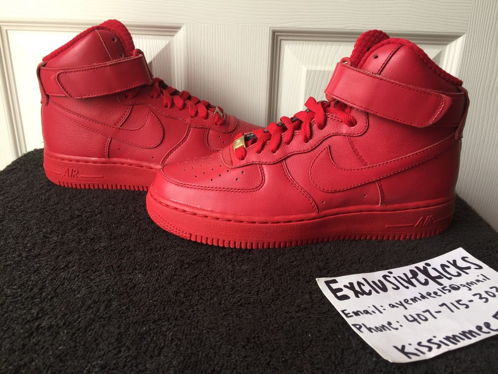 266585461b4 DS New Authentic Nike iD Air Force One 1 HI Top Red October 5.5 ...