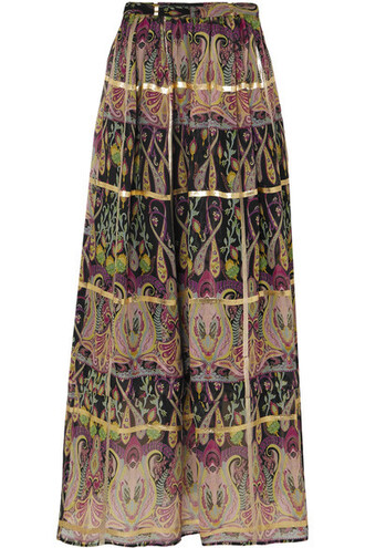 skirt maxi skirt maxi metallic jacquard black silk