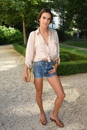 bag,alessandra ambrosio,top,flat sandals,flats,shorts,cropped,crop tops,summer,summer outfits,denim shorts,denim