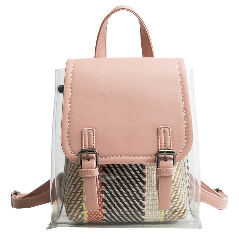 Pink Clear Bag Summer Fashion Backpack for Women