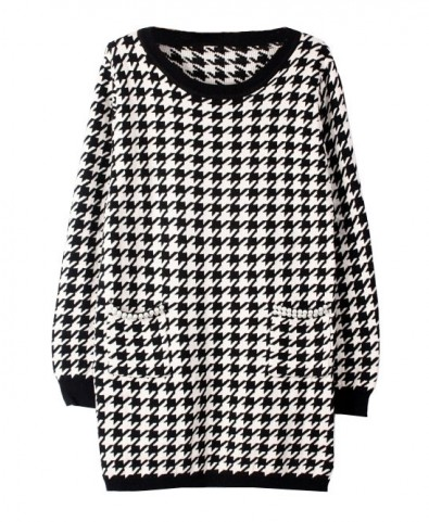 Houndstooth Knit Dress with Pearl Pockets - Casual Dresses - Dresses - Clothing