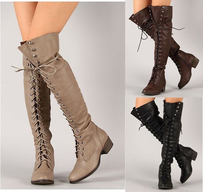 ALABAMA-12 Over The Knee Thigh High Lace Up Military Boots