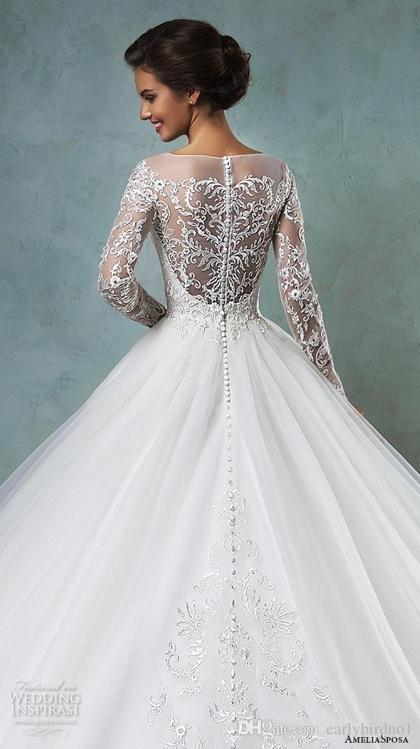 Gorgeous Dresses Sheer Bateau Long Sleeve Wedding Dresses 2016 ...