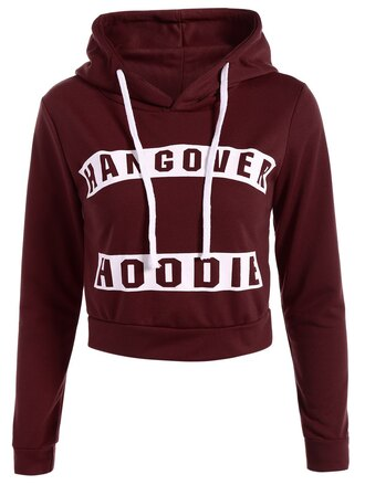sweater burgundy casual hoodie long sleeves trendy quote on it zaful