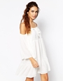 Glamorous cold shoulder cheesecloth swing dress with crochet detail at asos.com