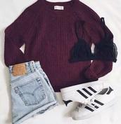 sweater,jeans,shoes,underwear,burgundy,sweat,knit,jumper,folded sleeves,shorts