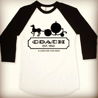 shirt coach cinderella baseball tee far far away disney name brand fairy tale princess walt disney black and white