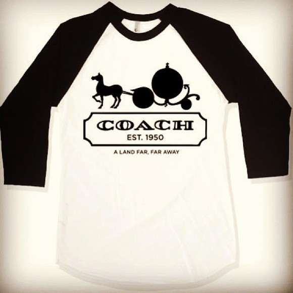disney cinderella shirt coach baseball tee far far away name brand fairytale princess walt disney black and white