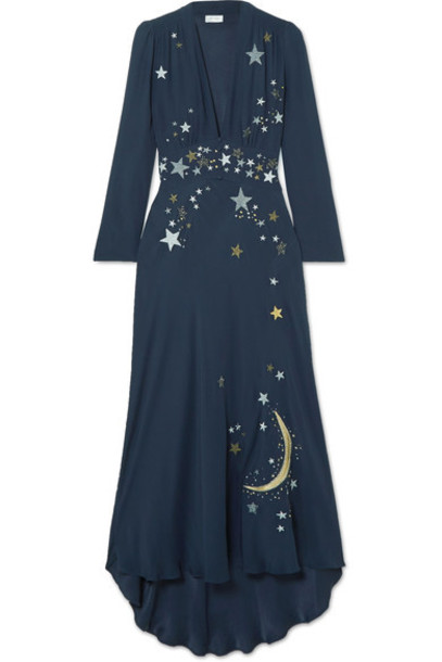 dress midi dress embroidered midi embellished blue