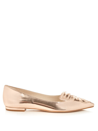 butterfly flats leather flats leather gold shoes