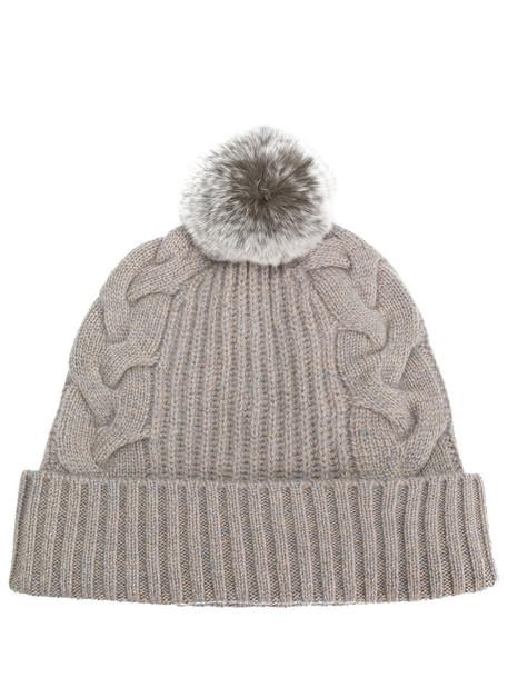 N.Peal - pompom beanie hat - women - Rabbit Fur/Cashmere - One Size, Brown, Rabbit Fur/Cashmere
