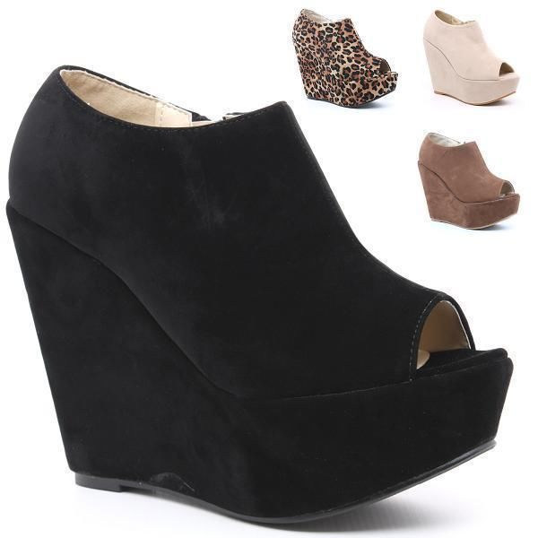 WOMENS SHOES WEDGES PLATFORM SUEDE PEEP TOE LADIES BLACK ANKLE BOOTS SIZES 3 - 8 | eBay