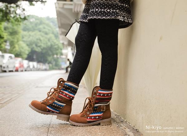 Belted Knit Panel Lace-Up Boots, Camel , 38 - Nikiyo | YESSTYLE