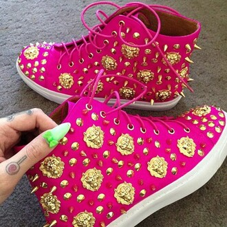shoes pink hot sexy high top sneakers gold cute