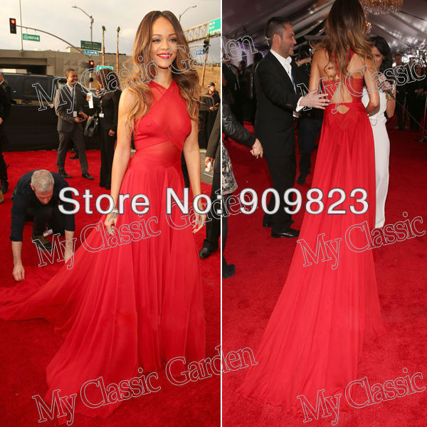 Aliexpress.com : buy grammy awards 2013 new arrival rihanna red halter see through a line chiffon full length evening red carpet celebrity dresses from reliable carpet color suppliers on my classic garden