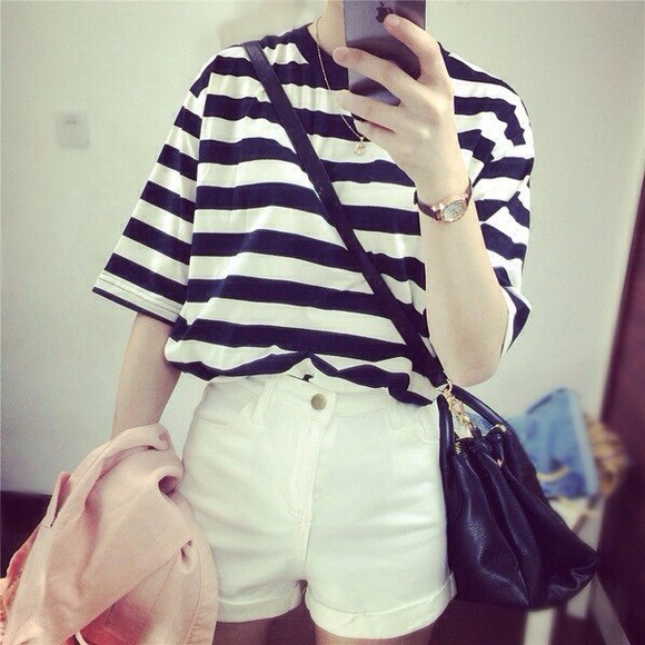 shirt striped black and white crew neck high neck short sleeve