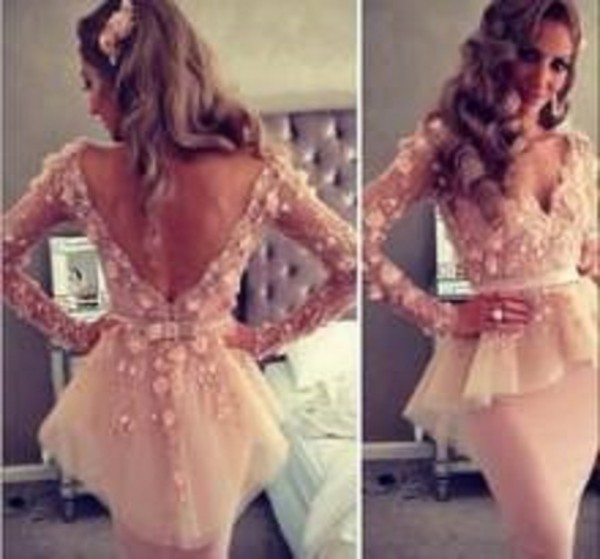 dress lace peplum dress lace details pink dress full sleeves cute dress