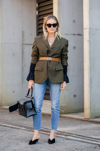 jeans tumblr blue jeans denim shoes mules bag black bag blazer belt sunglasses work outfits office outfits