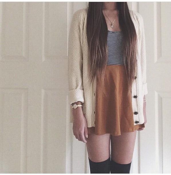 cardigan white cardigan skirt top