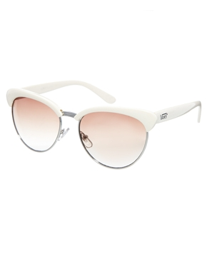 Vans | Vans Semi Rimless Cateye Sunglasses in Cream at ASOS